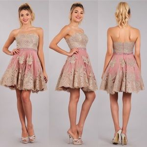 My Fashion 1698 Blush with Gold Lace